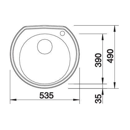Chiveta de bucatarie BLANCO RONDOVAL 3 1/2 LEINEN, inox, 513314, 53,5 cm