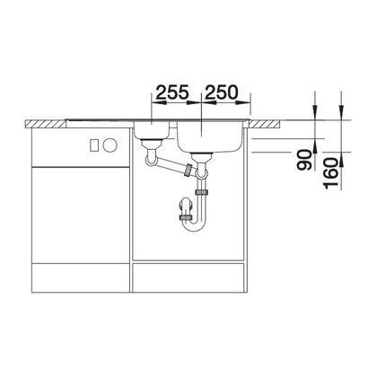 Chiveta de bucatarie BLANCO TIPO 6 S BASIC FINISAJ PERIAT, inox, 512300, 95 cm