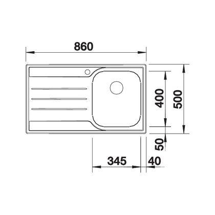 Chiveta de bucatarie BLANCO MEDIAN 45 S 18/10 cuva dreapta, inox, 512660, 86 cm