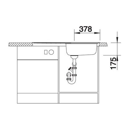 Chiveta de bucatarie BLANCO MEDIAN XL 6 S cuva dreapta cu sifon, inox, 512737, 100 cm
