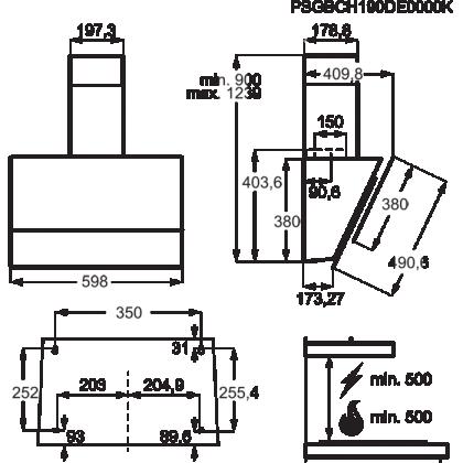 Hota de perete Electrolux LFV616K, 60 cm, neagra, Hob2Hood