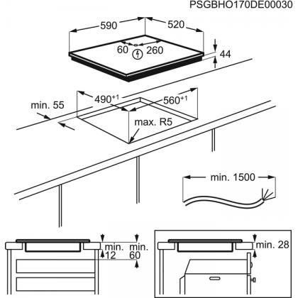 Plita incorporabila inductie Electrolux EIP6446, 60 cm, functie punte, Hob2Hood