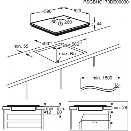 Plita incorporabila inductie Electrolux EIS6648, 60 cm, Food Sensor, functie Bridge, Hob2Hood, gri, display color