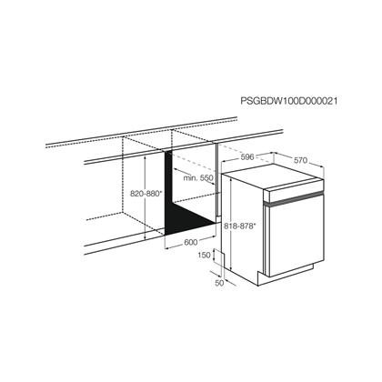 Masina de spalat vase partial incorporabila AEG FEE52910ZM, 60 cm, Tehnologie AIRDRY, Motor inverter, inox