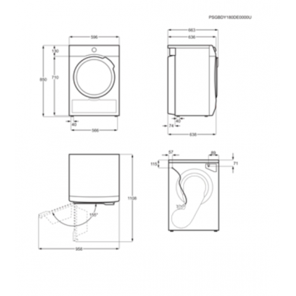 Uscator de rufe AEG T7DBE38S, Alb, 8 Kg, Pompa de caldura, 60 cm, A+