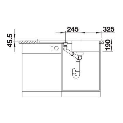 Chiuveta de bucatarie BLANCO ADON XL 6 S, 523609, Jasmin, 98 cm, tocator lemn inclus