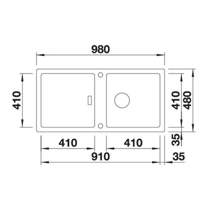 Chiuveta de bucatarie BLANCO ADON XL 6 S, 523608, Alb, 98 cm, tocator lemn inclus