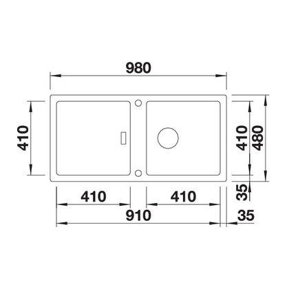 Chiuveta de bucatarie BLANCO ADON XL 6 S, 523607, Gri perlat, 98 cm, tocator lemn inclus