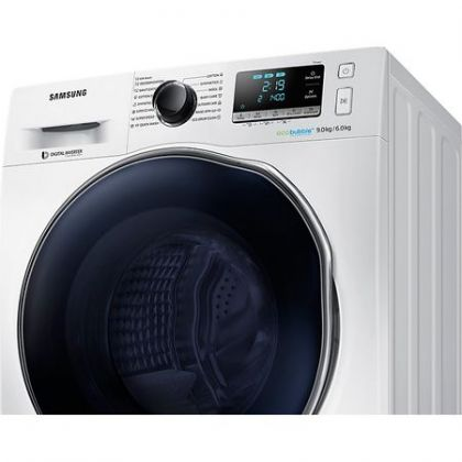 Masina de spalat rufe cu uscator Samsung WD90J6A10AW, Alb, Inverter, Eco Bubble, Frontala, spalare/uscare 9/6 kg, 1400 rpm