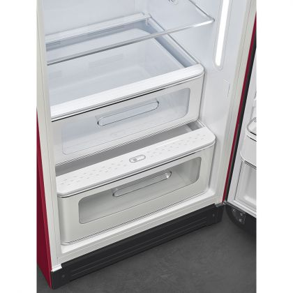 Frigider retro Smeg FAB28RDRB3, Ruby Red, A+++, ventilat, inverter, tratament antibacterian, balamale dreapta