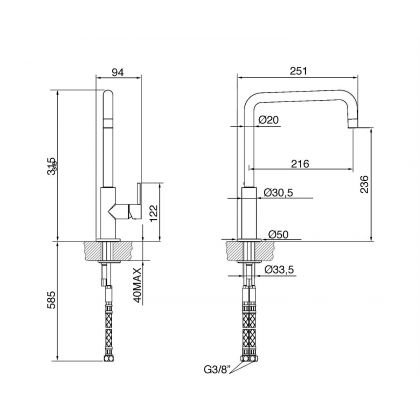 Baterie de bucatarie Smeg MC18A, antracit