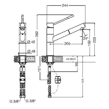 Baterie de bucatarie Smeg MD12-CR, crom, extractibil