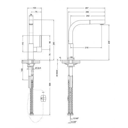 Baterie de bucatarie Smeg MDQ5-CSP, crom periat, extractibil