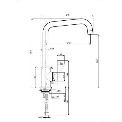 Baterie de bucatarie Smeg MI3CR, crom
