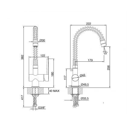 Baterie de bucatarie Smeg MM21-CR, crom, extractibil