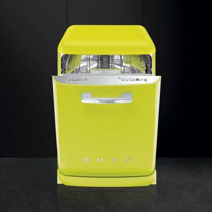 Masina de spalat vase retro Smeg LVFABLI, lime, clasa A+++, 10 programe