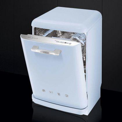 Masina de spalat vase retro Smeg LVFABPB, albastru pal, clasa A+++, 10 programe