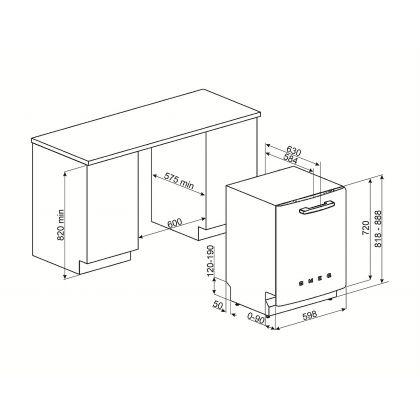 Masina de spalat vase retro incorporabila Smeg ST2FABCR, 60 cm, clasa A+++, crem