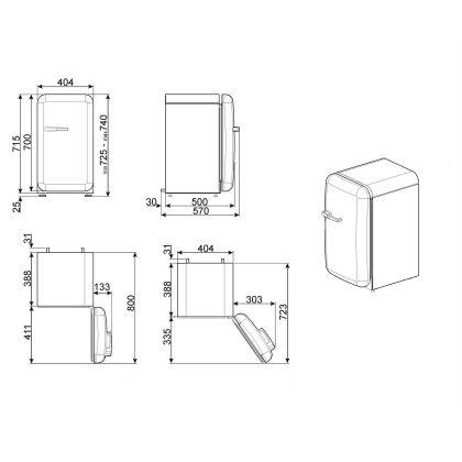 Frigider minibar retro pentru bauturi Smeg FAB5RBL3, negru, 40 cm latime