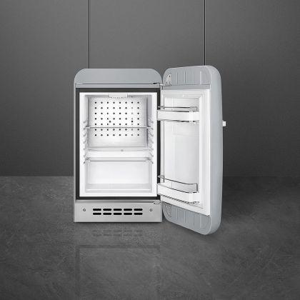 Frigider minibar retro pentru bauturi Smeg FAB5RSV3, gri, 40 cm latime