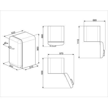 Minibar retro Smeg FAB10RRD2, rosu, A++