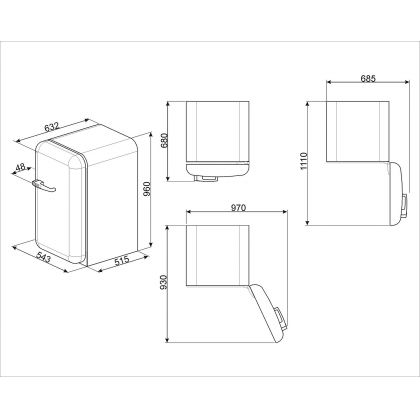 Minibar retro Smeg FAB10RBL2, negru, A++