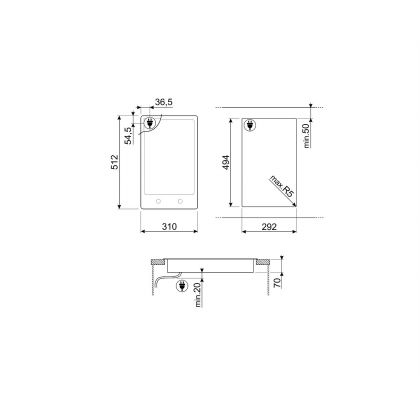 Plita incorporabila domino vitroceramica Smeg Classic PGF32C, 30 cm