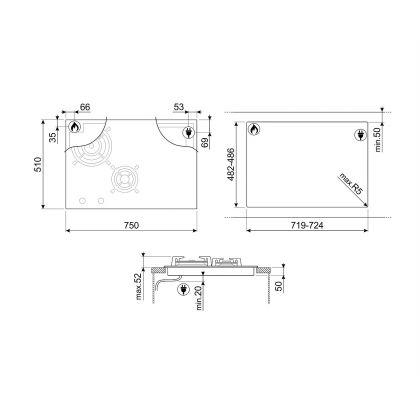 Plita incorporabila mixta Smeg Classic PM3721WLD, 75 cm, Multizone