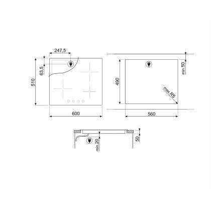 Plita incorporabila vitroceramica Smeg Classic SE364ETBM, 60 cm, butoane