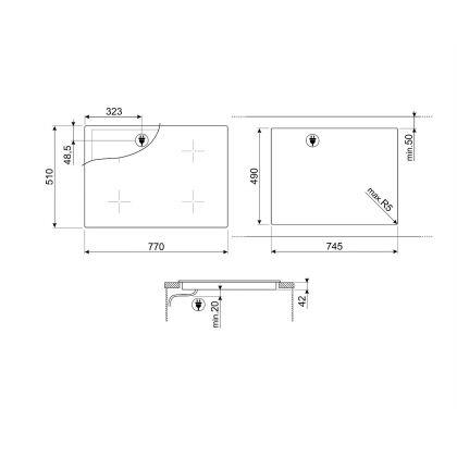 Plita incorporabila vitroceramica Smeg SE384EMTD, 80 cm, touch control