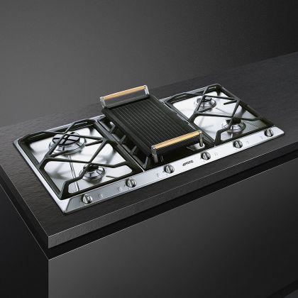 Plita incorporabila pe gaz Smeg Contemporary SRV596GH5, 90 cm, gratare fonta, Wok