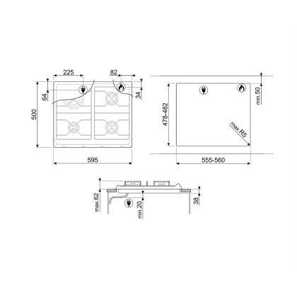 Plita incorporabila pe gaz Smeg Contemporary SRV564GH3, 60 cm, gratare fonta, Wok
