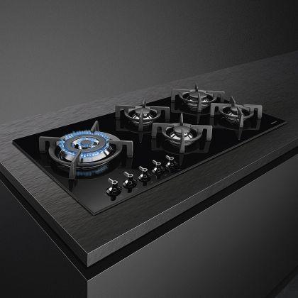 Plita incorporabila vitroceramica pe gaz Smeg Classic PV395LCN, 90 cm, wok