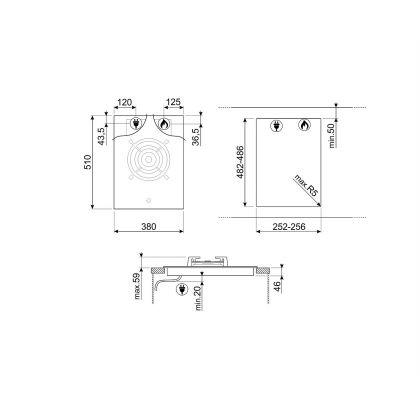 Plita incorporabila vitroceramica pe gaz Smeg Dolce Stil Novo PV631CNX, 40 cm
