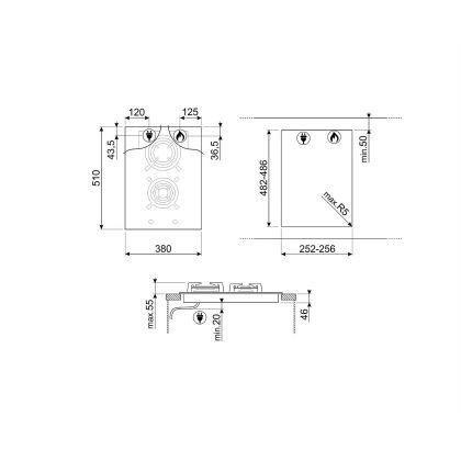 Plita incorporabila vitroceramica pe gaz Smeg Dolce Stil Novo PV632CNX, 40 cm, finisaje inox