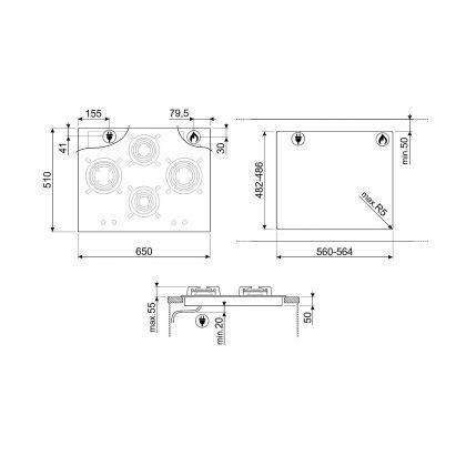 Plita incorporabila vitroceramica pe gaz Smeg Dolce Stil Novo PV664LCNX, 65 cm, negru