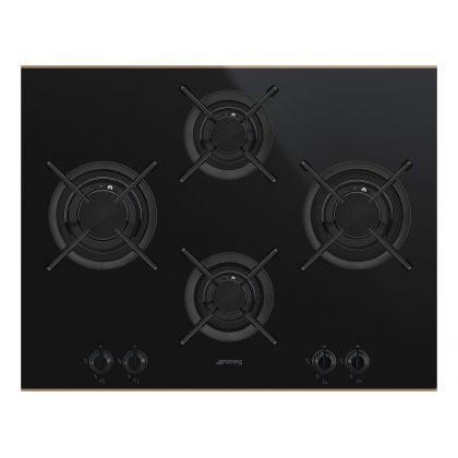 Plita incorporabila vitroceramica pe gaz Smeg Dolce Stil Novo PV664LCNR, 65 cm, negru
