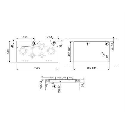 Plita incorporabila pe gaz Smeg Dolce Stil Novo PXL6106, 100 cm, inox