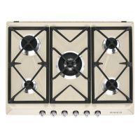 Plita incorporabila pe gaz Smeg Victoria SR975PGH, crem , 70 cm, Wok, fonta
