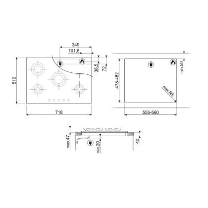 Plita incorporabila pe gaz Smeg Piano Design P705ES, 70 cm, inox