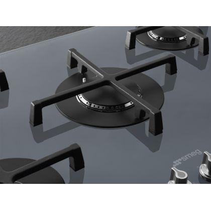 Plita incorporabila vitroceramica pe gaz Smeg Linea PV175S2, 70 cm, Silver Glass