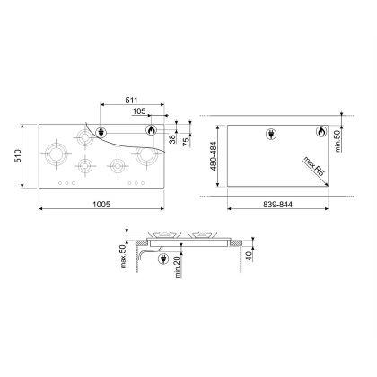 Plita incorporabila pe gaz Smeg Piano Design P106ES, 100 cm, inox