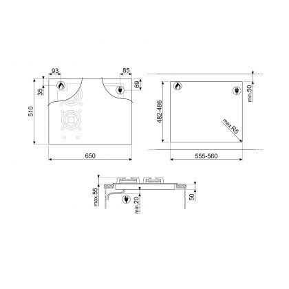 Plita incorporabila mixta Smeg Dolce Stil Novo PM6621WLDR, 65 cm latime, finisaj cupru