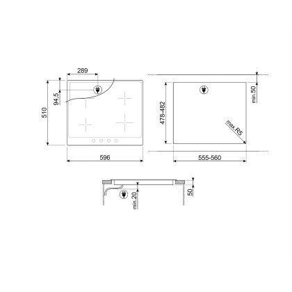 Plita incorporabila cu inductie Smeg Victoria SI964NM, 60 cm latime, rama neagra