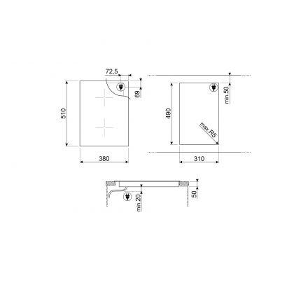 Plita incorporabila inductie Smeg Dolce Stil Novo SIM631WLDX, 38 cm latime, finisaj inox