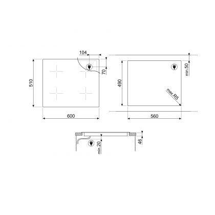 Plita incorporabila inductie Smeg Dolce Stil Novo SIM662WLDR, 60 cm latime, finisaj cupru