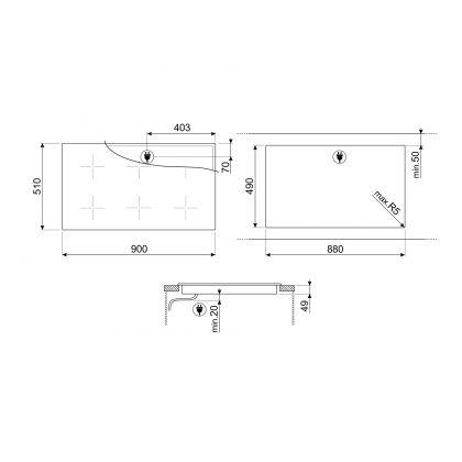 Plita incorporabila inductie Smeg Dolce Stil Novo SIM693WLDR, 90 cm latime, finisaj cupru