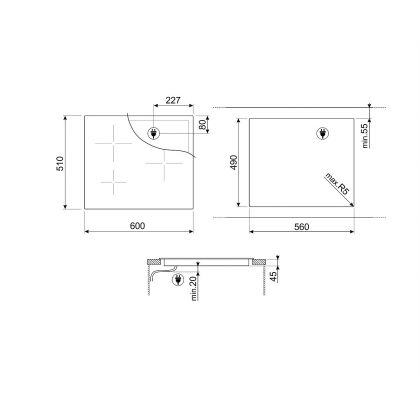 Plita incorporabila cu inductie Smeg SI7643B, 60 cm latime, negru