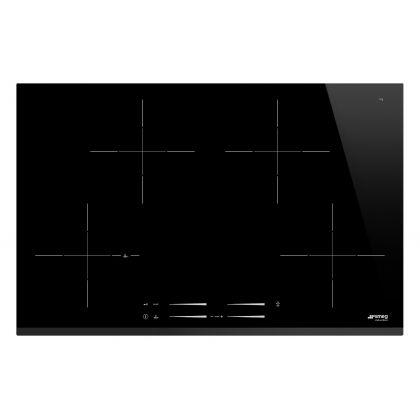 Plita incorporabila cu inductie Smeg SI7844B, 78 cm latime, negru