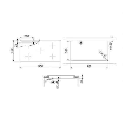 Plita incorporabila cu inductie Smeg SIH7933B, 90 cm latime, negru